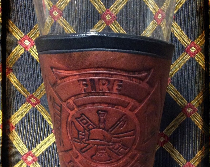 Leather Pilsner pint glass beer bar ale steampunk Firefighter logo public service Maltese cross