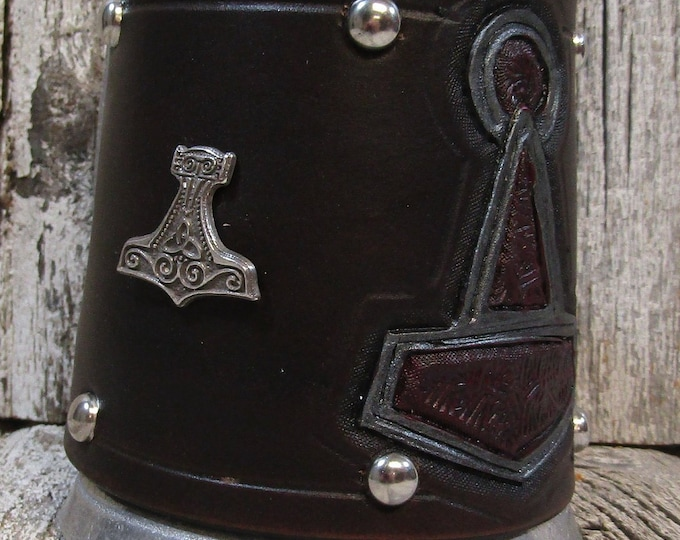 Hand tooled leather covered 16 oz tankard Viking Thor's Hammer