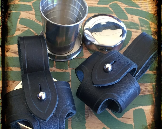 Collapsible shot glass leather belt holster booze vodka whiskey flask rum celtic Irish renaissance steampunk