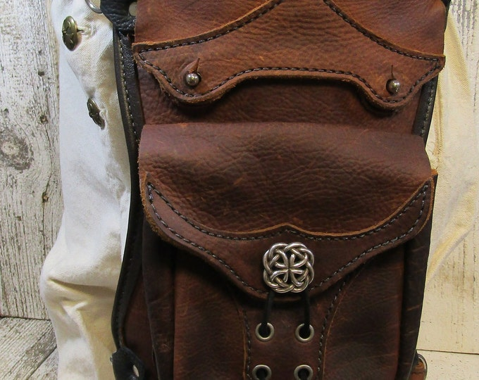Leather hip / thigh bag, distressed brown celtic