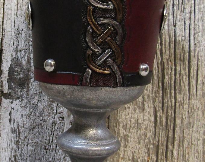 Hand tooled leather covered 12 oz goblet Celtic knotwork