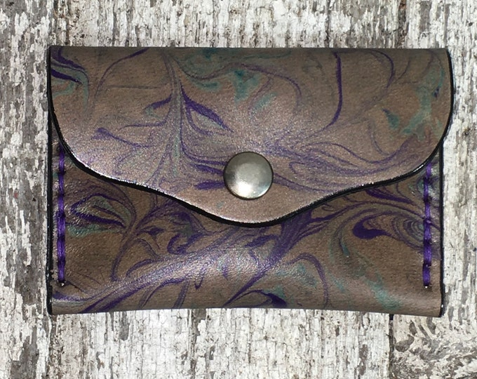 Business card case leather marbled tie dye