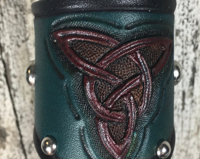 Hand tooled leather shot horn Celtic