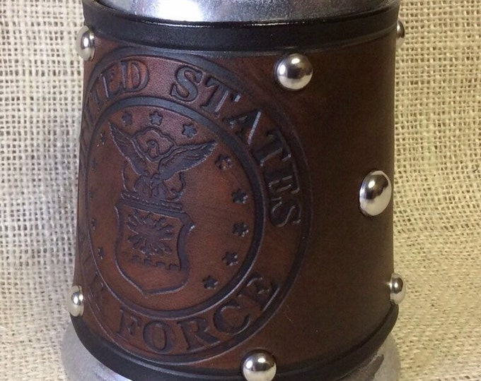 Leather Metal 16 oz tankard military Army Navy Air Force Marines beer ale Scottish celtic Irish
