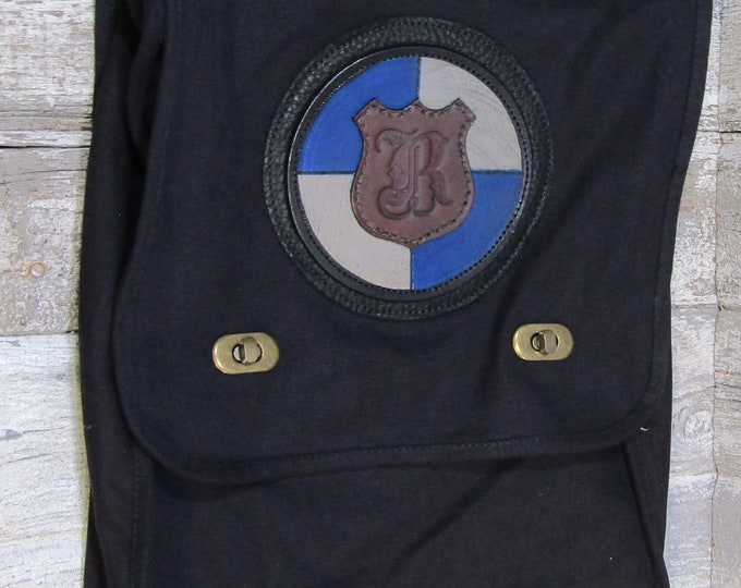 Canvas messenger bag with leather Medallion Wizard School House Blue/Gray