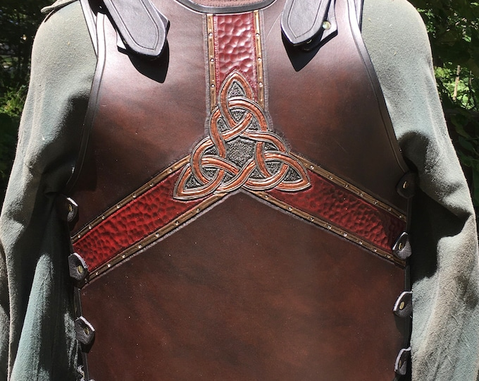 Tooled leather breastplate armor Celtic Flux