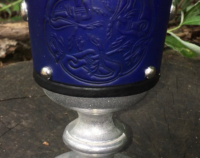 Statesmetal Goblet with Embossed Leather Celtic Dogs