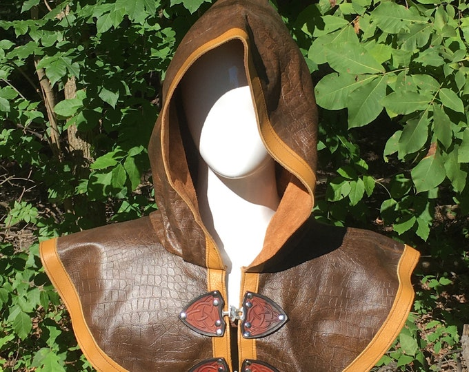 Brown gator print with mustard yellow Leather hooded mantle
