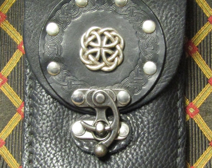 Leather utility belt pouch celtic circle and concho