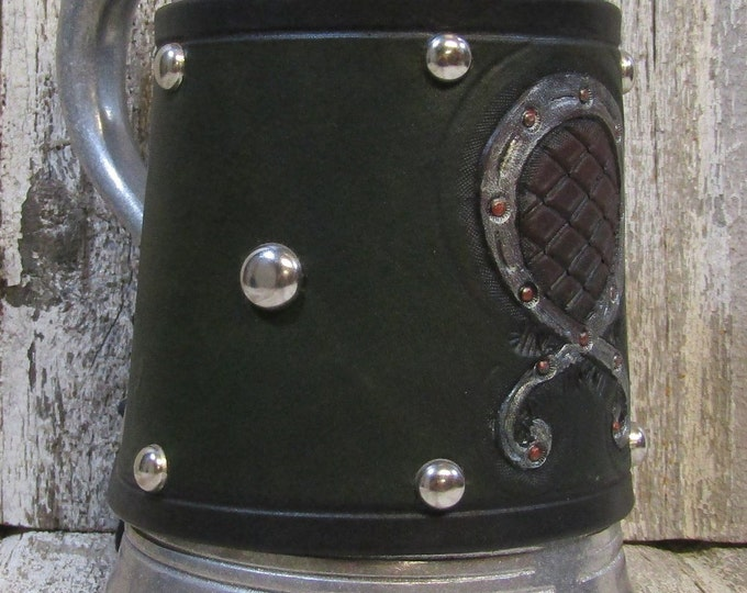 Hand tooled leather covered 36 oz tankard Norse Troll Cross