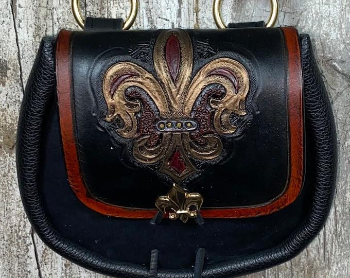 Celtic fleur de lis hand tooled sporran belt pouch leather