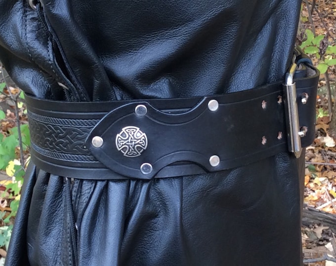 "2-1/2"" deluxe kilt belt celtic embossed"