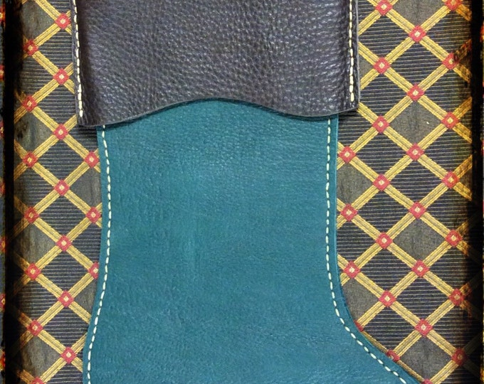 Hand stitched bullhide leather holiday Christmas stocking