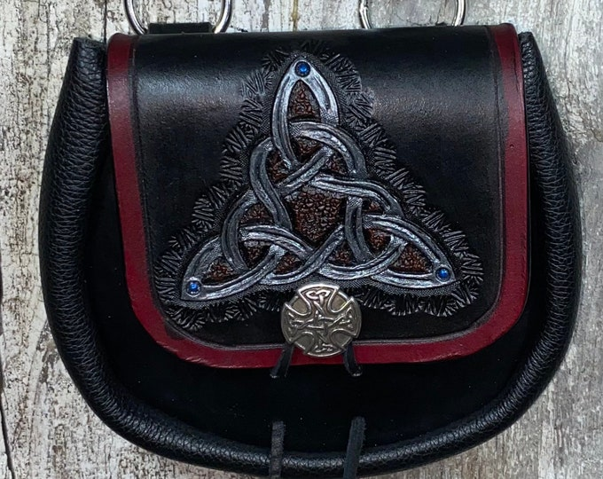 Celtic triangle knotwork hand tooled sporran belt pouch leather