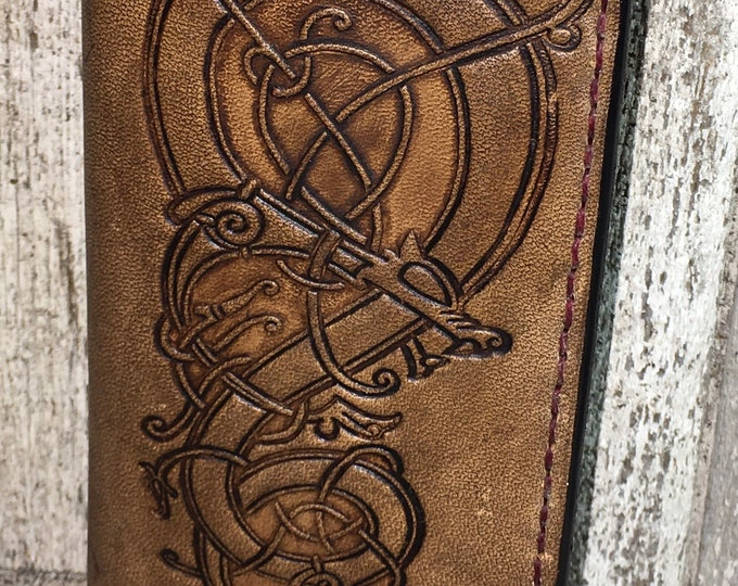 Norse Viking celtic leather checkbook cover wallet
