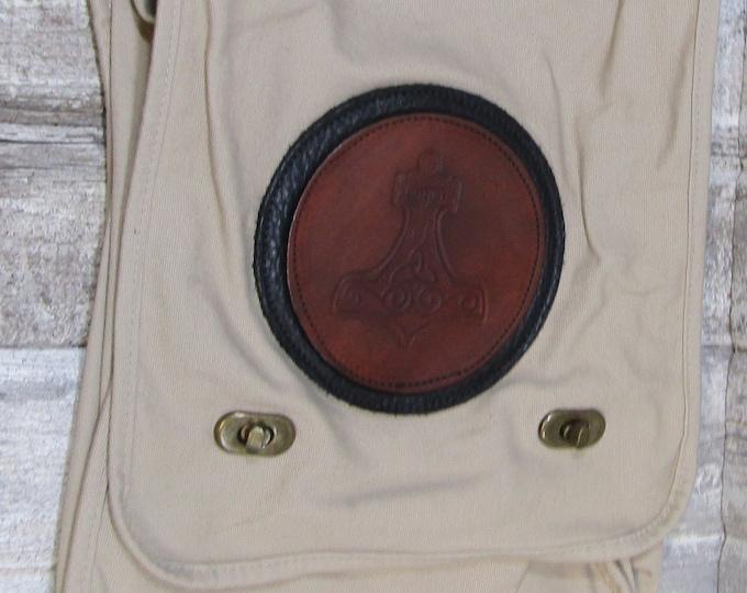 Canvas messenger bag with leather medallion viking Thor's hammer