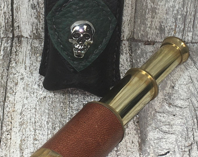 Pirate spyglass with leather belt case