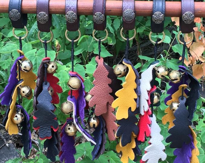 Leather oak leaf bells sleigh bells