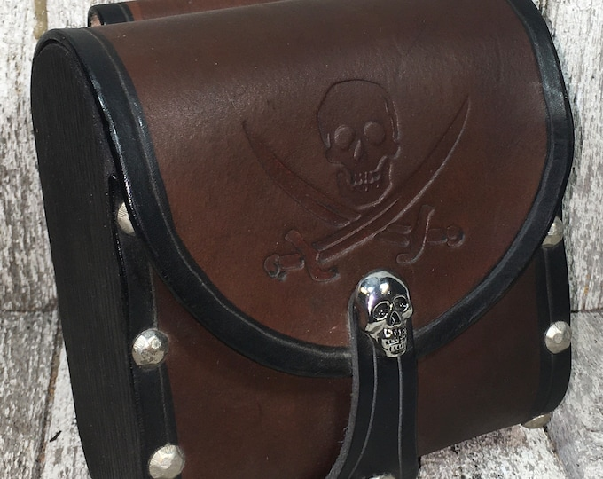 Leather cartridge belt pouch embossed pirate design