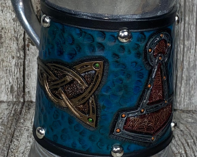 Hand tooled celtic Viking tankard mug 36 oz