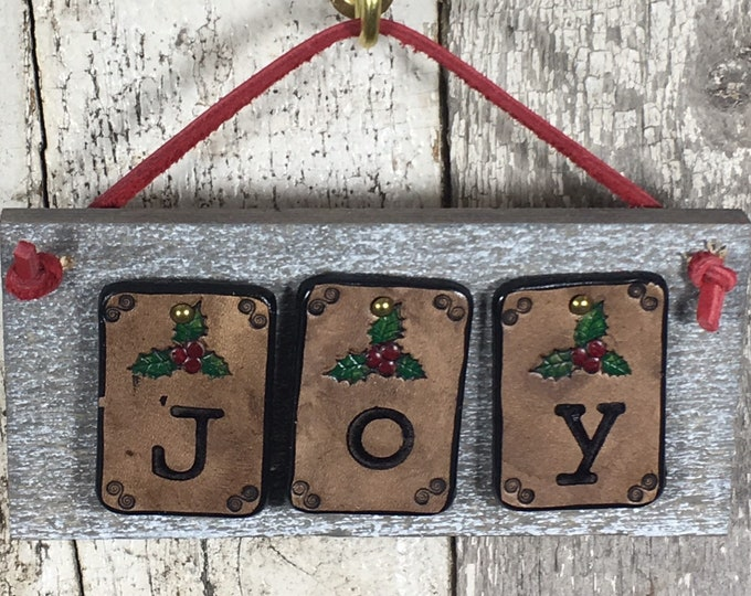 Joy Christmas Holiday sign rustic leather