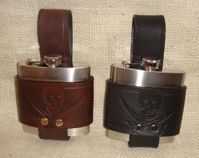 Hand Made Embossed Pirate Skull and Crossed Swords 6 oz. Hip Flask