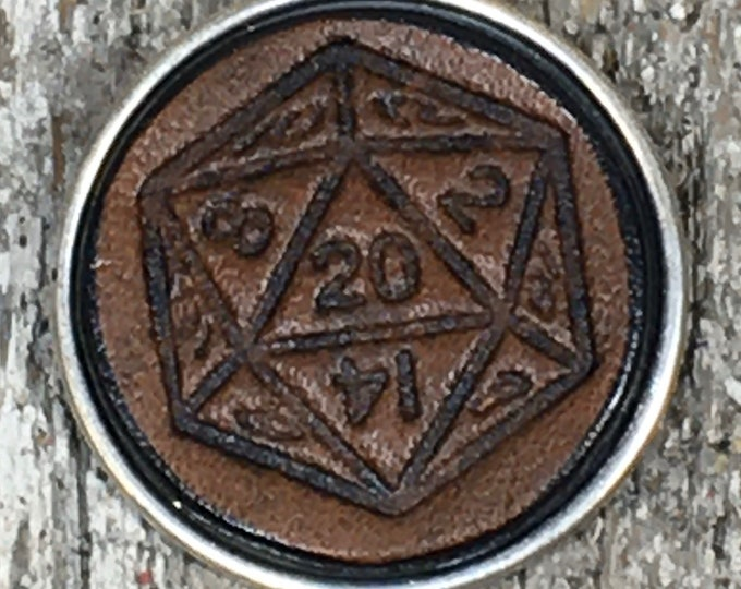 D-20 Die leather gaming pin