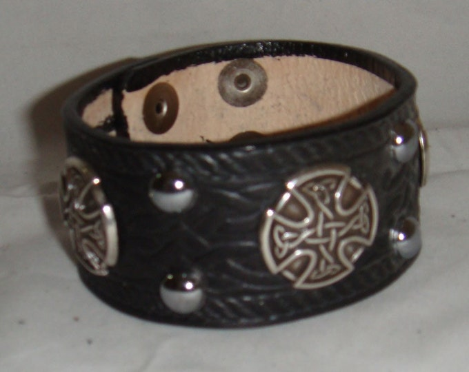 Leather Studded Wide Cuff Medallion Bracelet