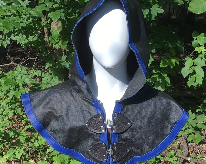 Black with royal blue Leather hooded mantle