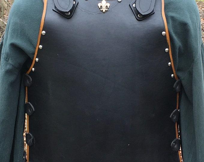 Handmade leather Fleur de Lis Breastplate