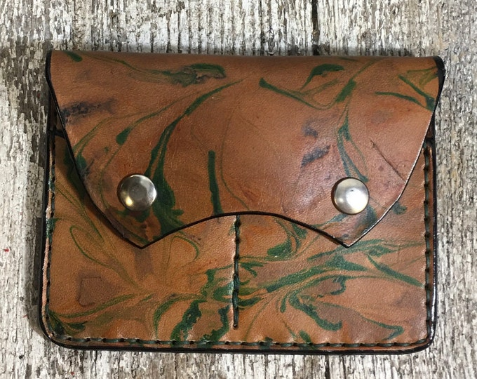Large marbled document wallet credit cards snap