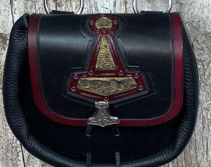 Mjolnir Thors Hammer hand tooled sporran belt pouch leather