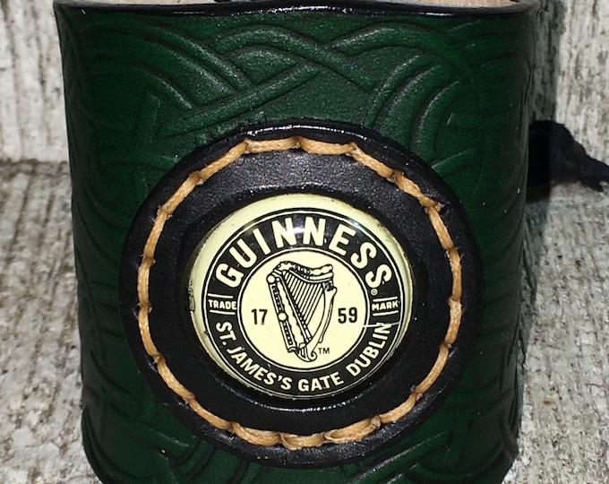 Guinness reclaimed bottle cap celtic leather cuff bracelet