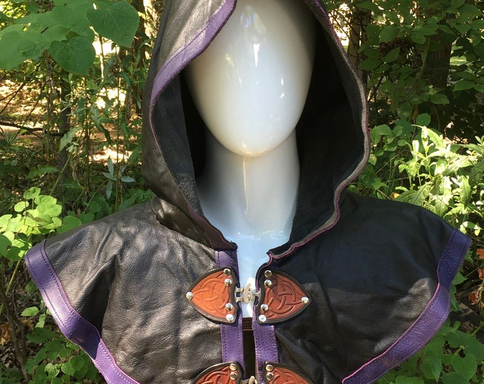 Black with purple Leather hooded mantle