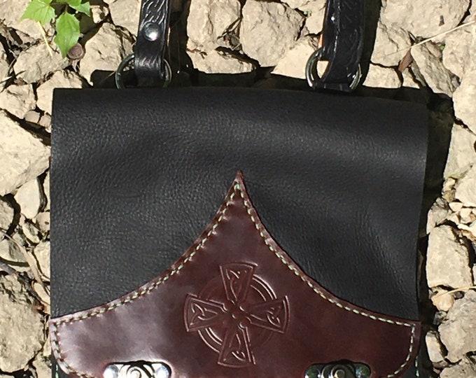 Messenger bag, tablet satchel hand stitched Kodiak oil tan Celtic Cross
