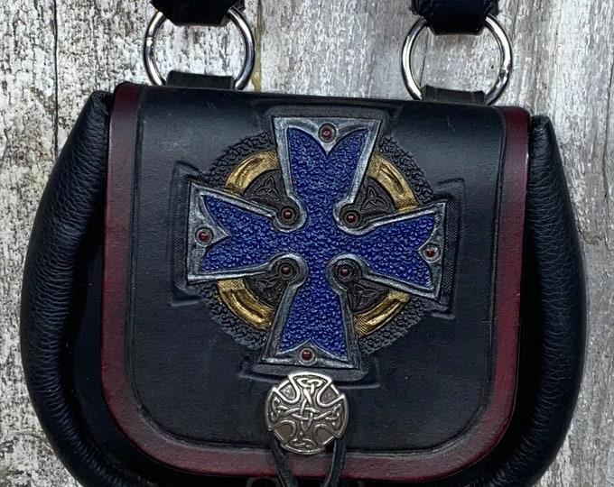Celtic cross hand tooled sporran belt pouch leather