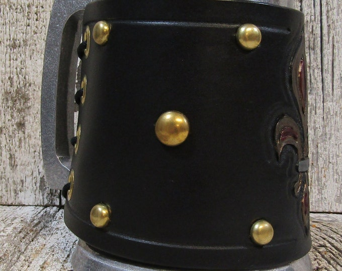 Hand tooled leather covered 16 oz tankard Fleur de Lis