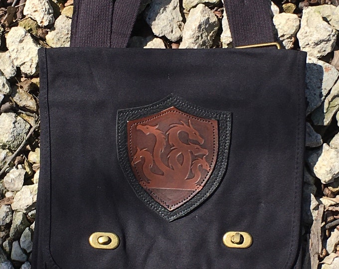 Canvas messenger bag with leather medallion hydra dragons