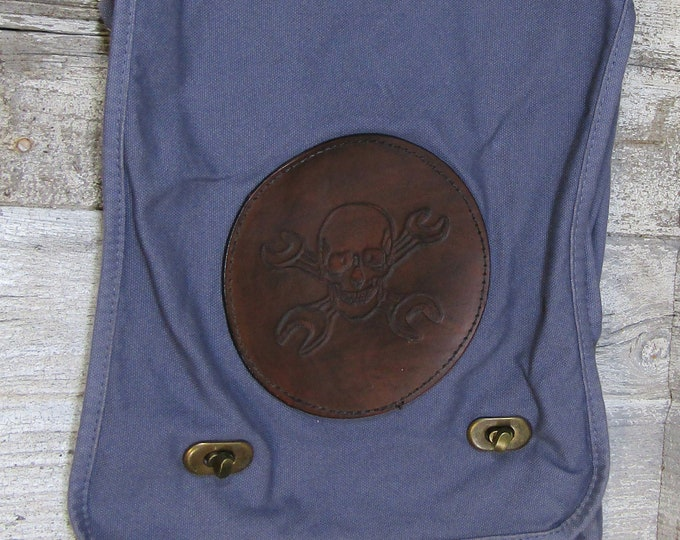 Canvas messenger bag with leather medallion mecahnic steampunk skull and wrenches