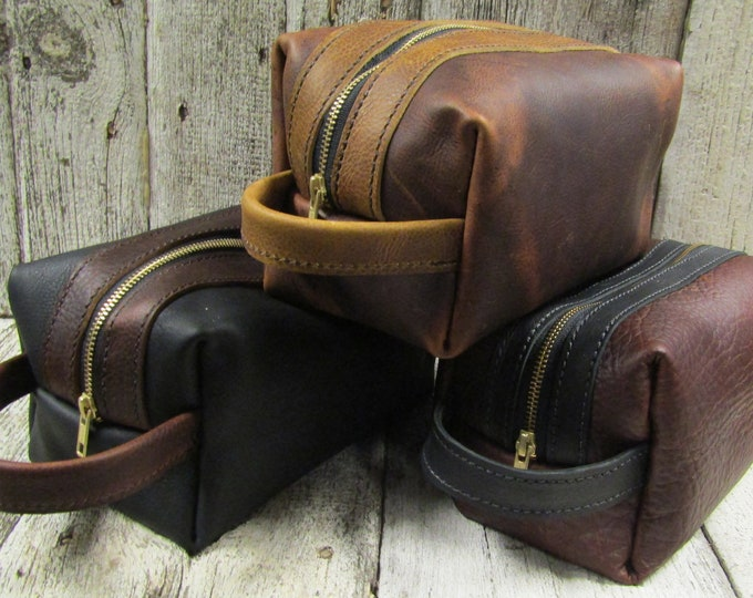 Leather Dopp shave kit/toiletries bag
