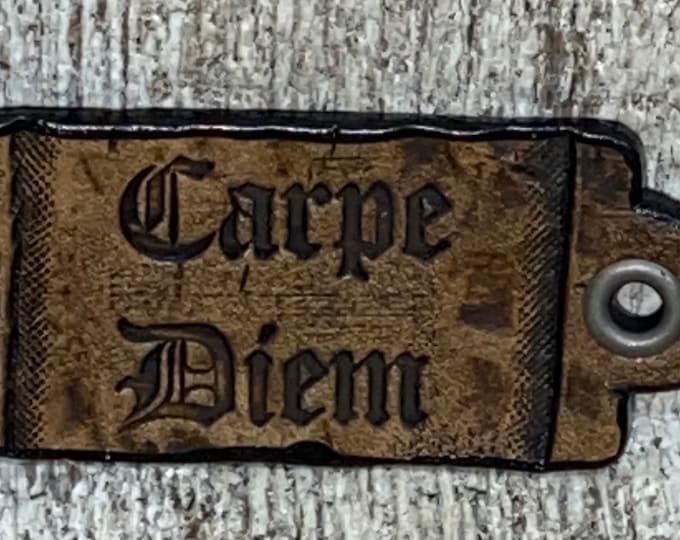 Carpe Diem leather Faire pin necklace hang tag