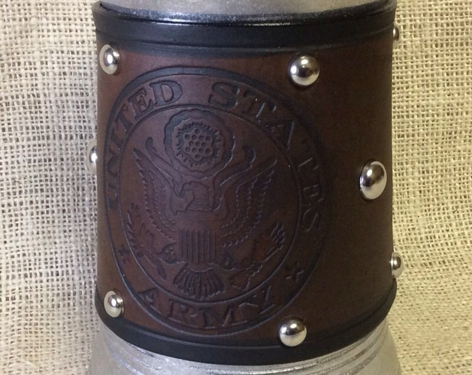 Leather Metal 36 oz tankard military Army Navy Air Force Marines beer ale Scottish celtic Irish