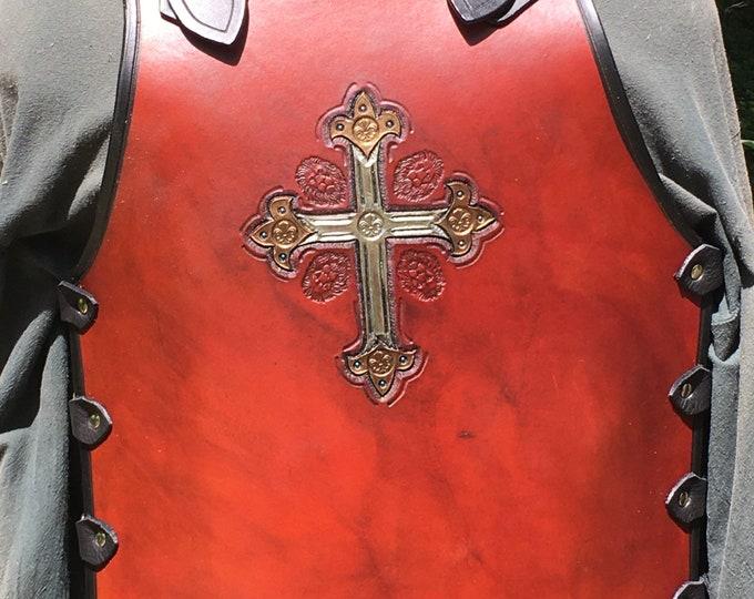 Tooled leather breastplate armor Muskateer lion