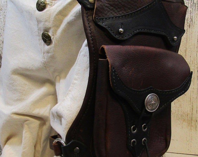 Leather hip / thigh bag, compass rose
