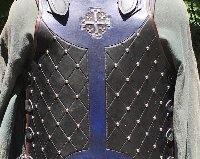 Tooled leather breastplate armor Jerusalem cross studded