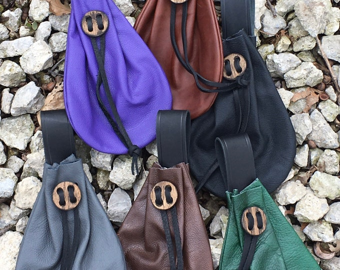 Leather drawstring belt pouches