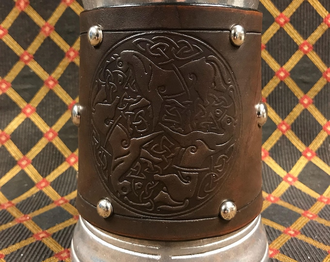 Leather Metal 36 oz tankard beer ale Scottish Irish celtic horses goddess Epona horse