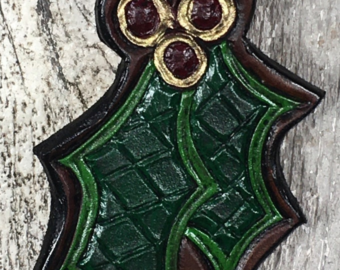 Hand tooled leather holly leaf ornament
