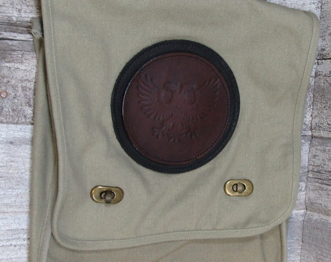 Canvas messenger bag with leather medallion Polish imerial eagle double headed