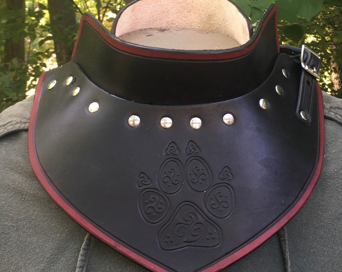 Celtic Wolf Paw Leather armor gorget SCA LARP